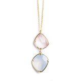 925 SILVER GOLD PLATED NECKLACE WITH ROSE QUARTZ AND AQUA CHALCEDONY