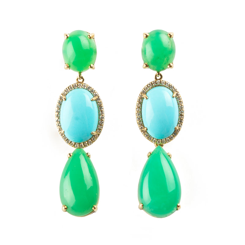 14K YELLOW GOLD EARRINGS WITH CHRYSOPHASE, TURQUOIS AND DIAMONDS