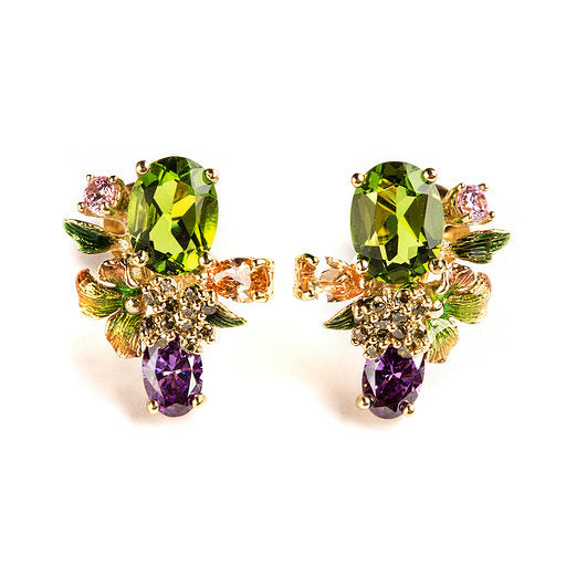 925 SILVER GOLD PLATEAD EARRINGS WITH GREEN FLOWERS GREEN CRISTAL AND COLORED CRISTALS