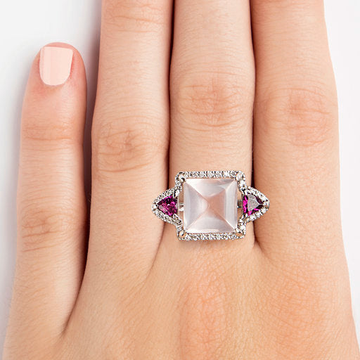 14K WHITE GOLD RING WITH DIAMONDS, PINK QUARTZ AND RHODOLITE
