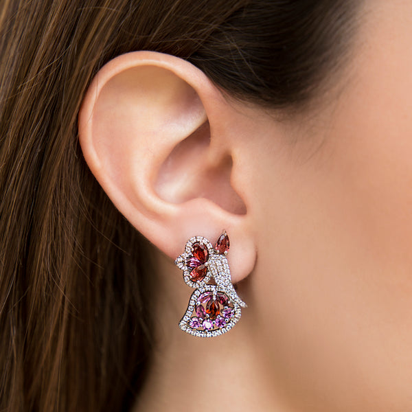 14K WHITE GOLD BUTTERFLY EARRINGS WITH DIAMONDS, GARNET AND AMETHYST