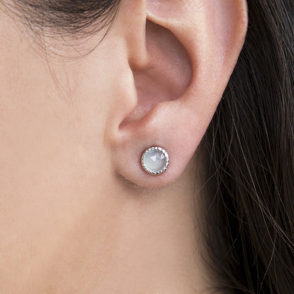 925 SILVER EARRINGS WITH BLUE CALCEDONY