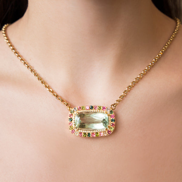 14K YELLOW GOLD NECKLACE WITH GREEN AMETHYST, TOURMALINES AND DIAMONDS