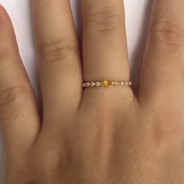 925 SILVER GOLD PLATED RING WITH CITRINE AND CRYSTAL
