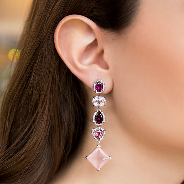 14K WHITE GOLD EARRINGS WITH GARNET, KUNZITE AND ROSE QUARTZ