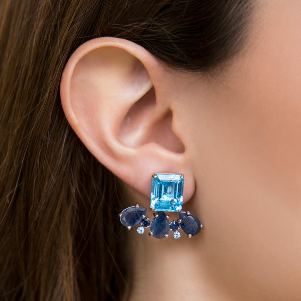 14K WHITE GOLD EARRINGS WITH BLUE TOPAZ AND BLUE SAPPHIRE