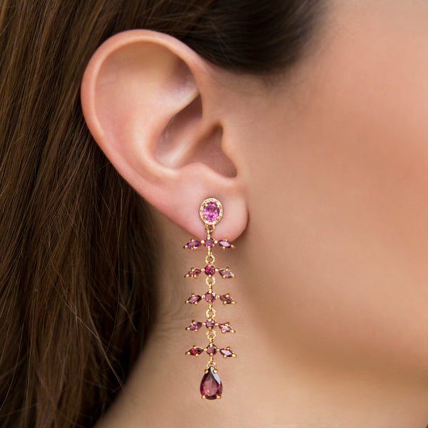 14K YELLOW GOLD EARRINGS WITH RHODOLITE AND DIAMONDS