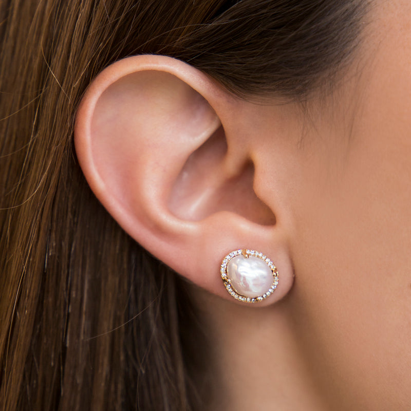 14K YELLOW GOLD EARRING WITH PEARLS AND DIAMONDS