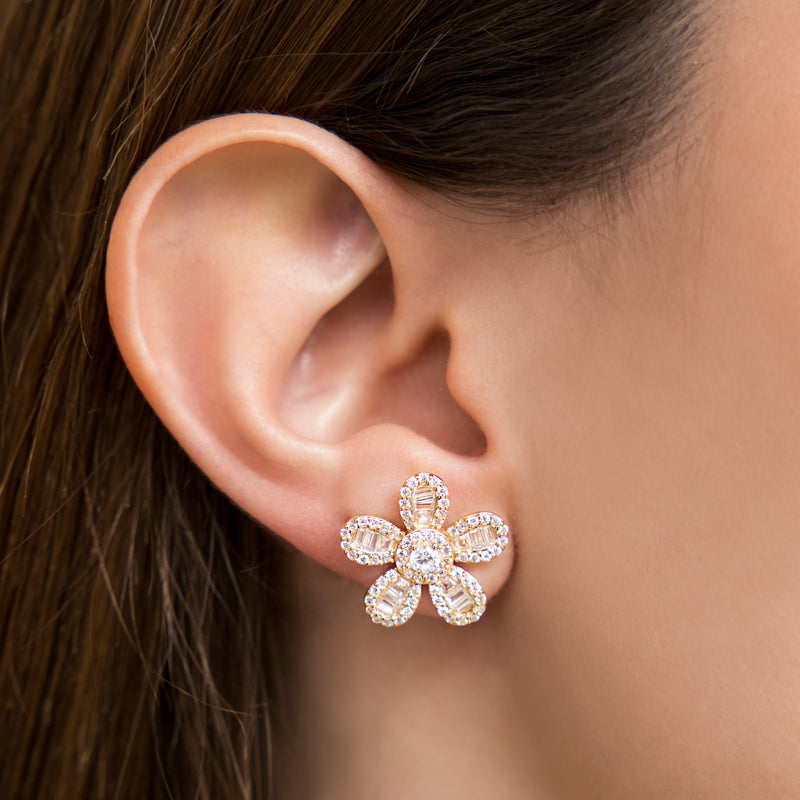 925 SILVER GOLD PLATED FLOWER EARRING WITH BAGUETTE CRYSTALS