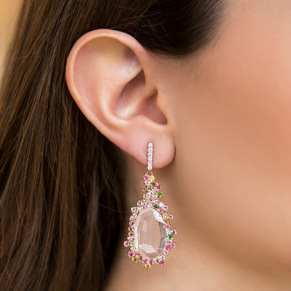 14K YELLOW GOLD EARRINGS WITH DIAMONDS, PINK QUARTZ AND TOURMALINE