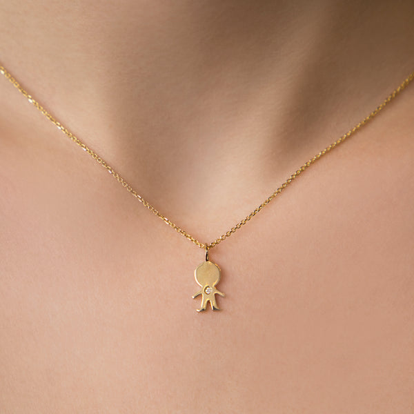 14K YELLOW GOLD BOY CHARM WITH DIAMOND
