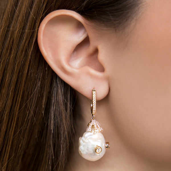 925 SILVER GOLD PLATED DROP EARRINGS WITH BAROQUE PEARL AND CRYSTALS