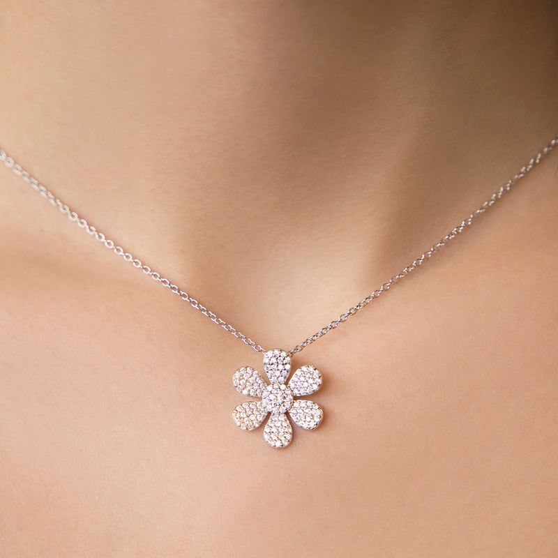 925 SILVER FLOWER PENDANT WITH CRYSTALS