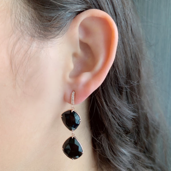 925 SILVER ROSE GOLD PLATED EARRINGS WITH BLACK ONYX AND CRYSTAL