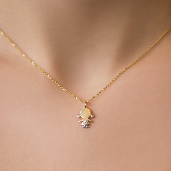 14K YELLOW GOLD GIRL CHARM WITH DIAMOND