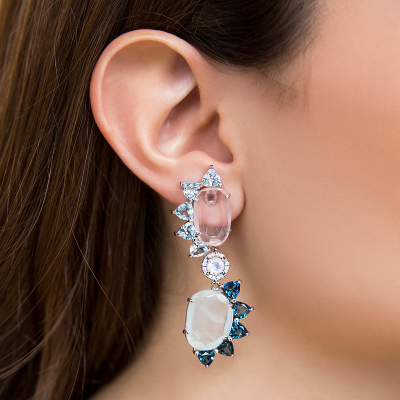 14K WHITE GOLD EARRINGS WITH DIAMONDS, PINK QUARTZ AND LONDON TOPAZ
