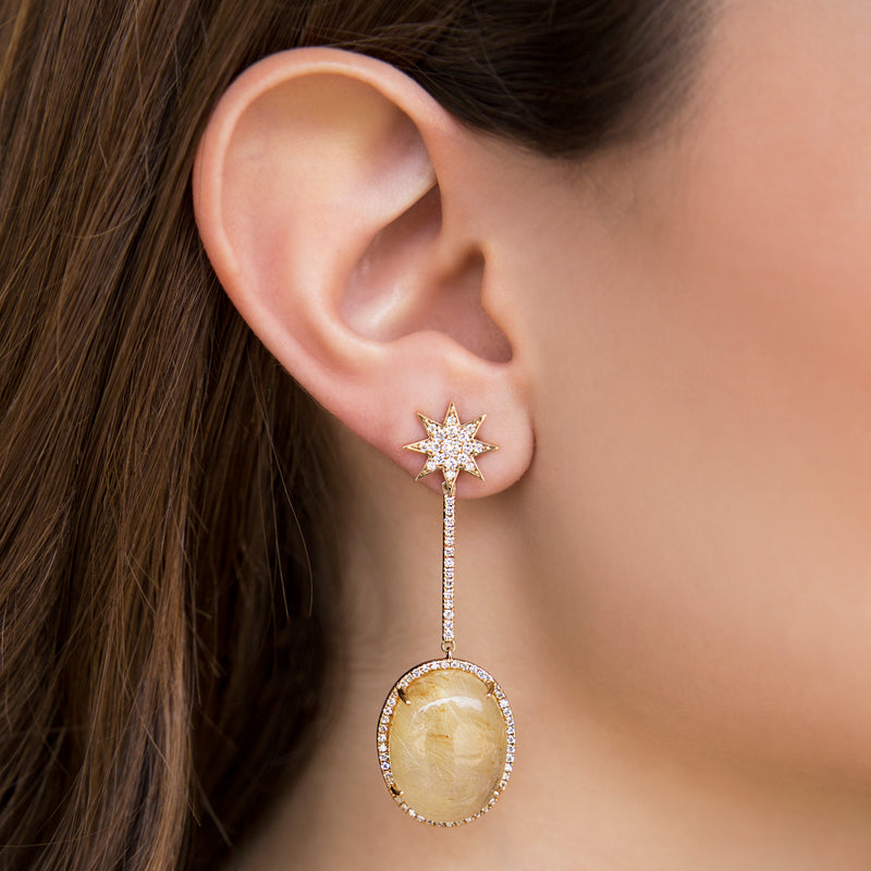 14K EARRINGS WITH OVAL ROUTED QUARTZ