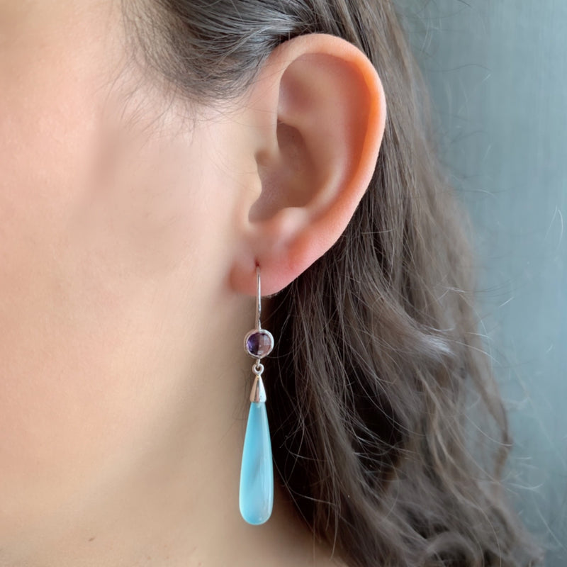 925 SILVER EARRING WITH AMETHYST AND AQUA CHALCEDONY