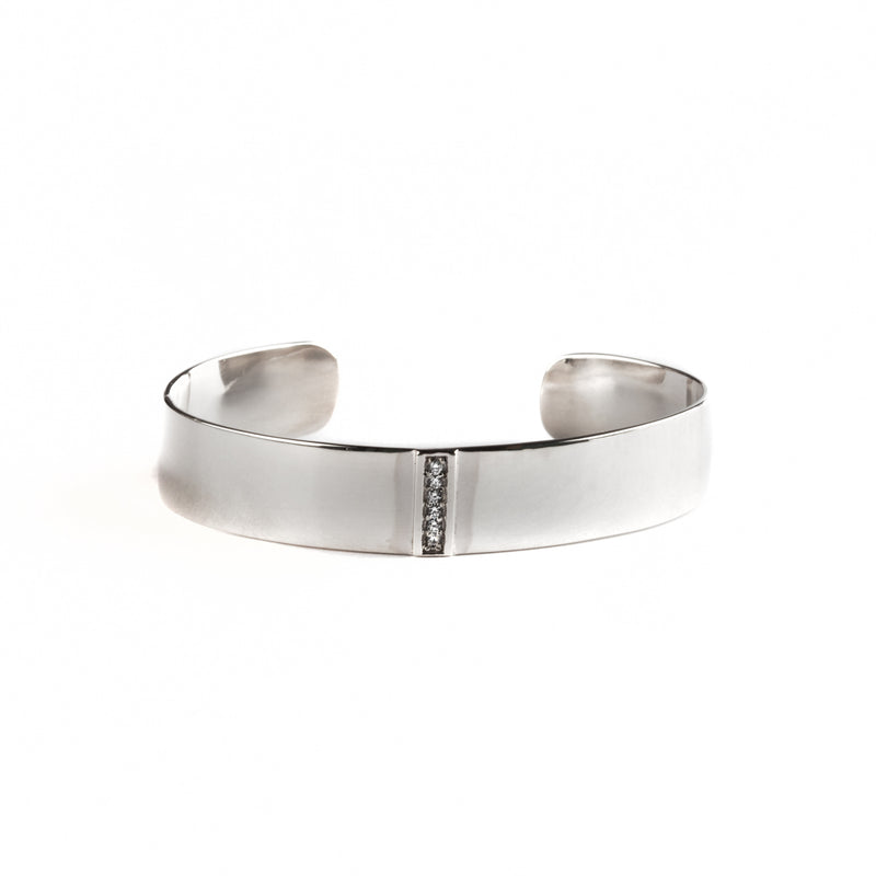925 SILVER ROUND BANGLE WITH CRYSTALS