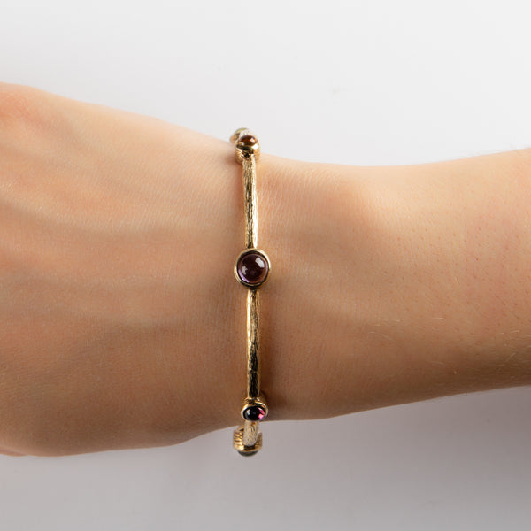 925 SILVER GOLD PLATEAD BRACELET WITH MULTICOLOR STONES