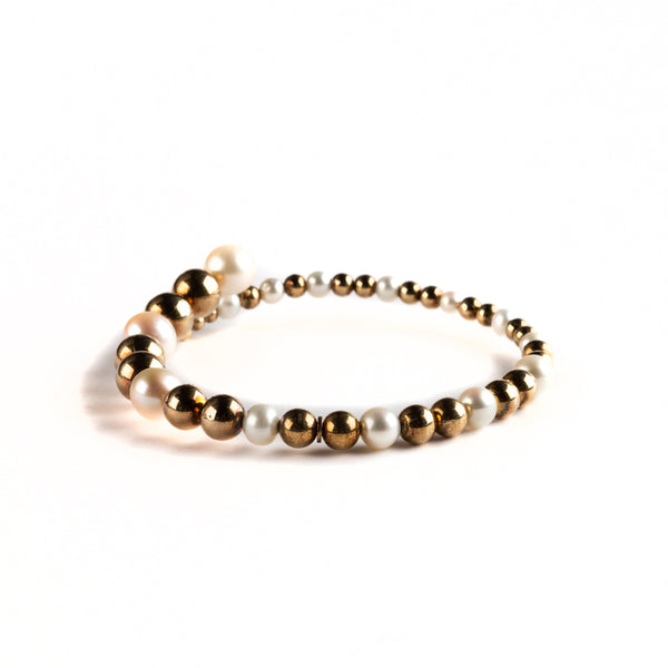925 SILVER GOLD PLATED BANGLE  WITH SPHERES DESIGN AND PEARL