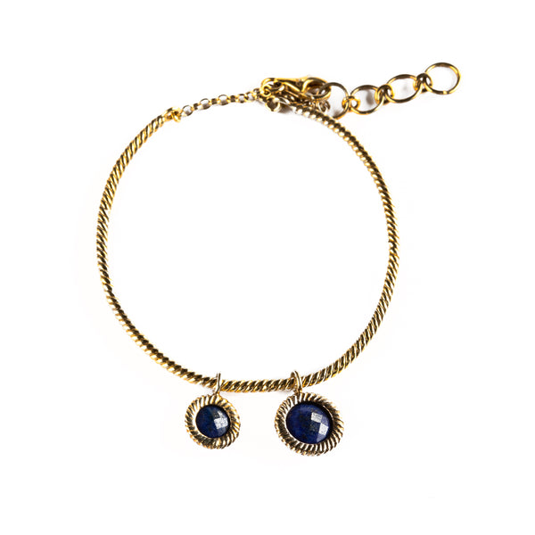 925 SILVER GOLD PLATED ROUND BRACELET WITH LAPIS LAZULI CHARMS