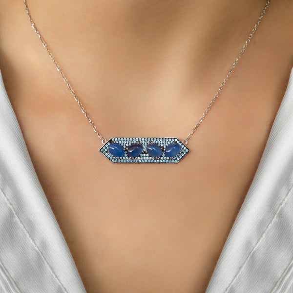 925 SILVER NECKLACE WITH BLUE AND LIGHT BLUE STONES PENDANT