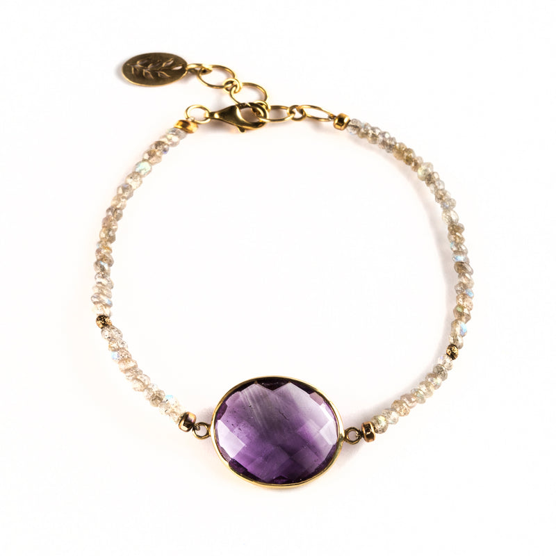 925 SILVER GOLD PLATED BRACELET WITH LABRADORITE AND BRAZILIAN AMETHYST