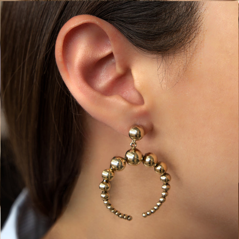 925 GOLD PLATED SILVER EARRINGS AND SPHERES DESIGN