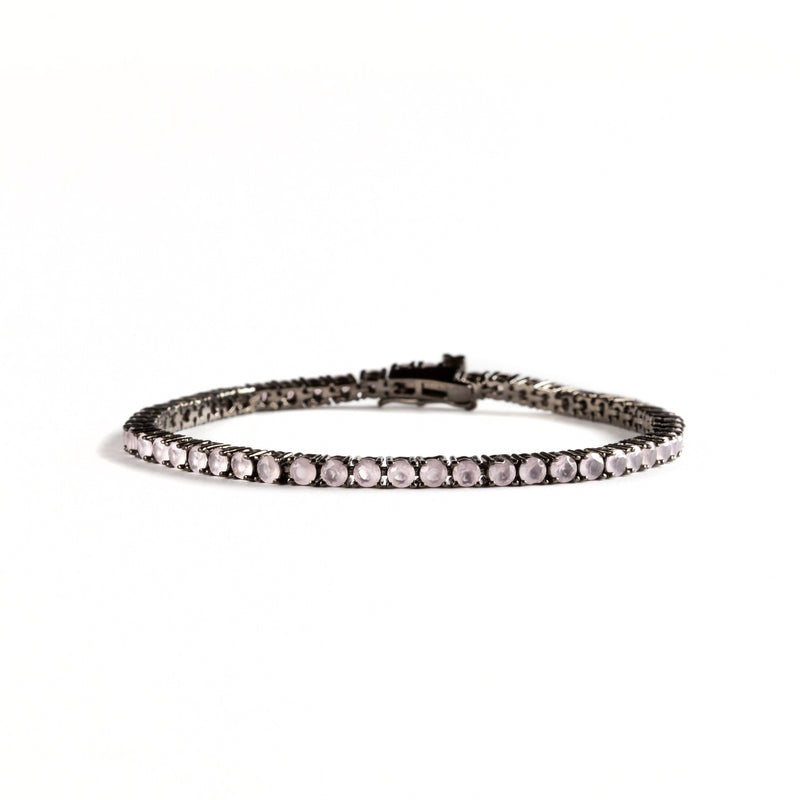 925 SILVER BRACELET WITH BLACK RHODIUM AND PINK CRYSTALS