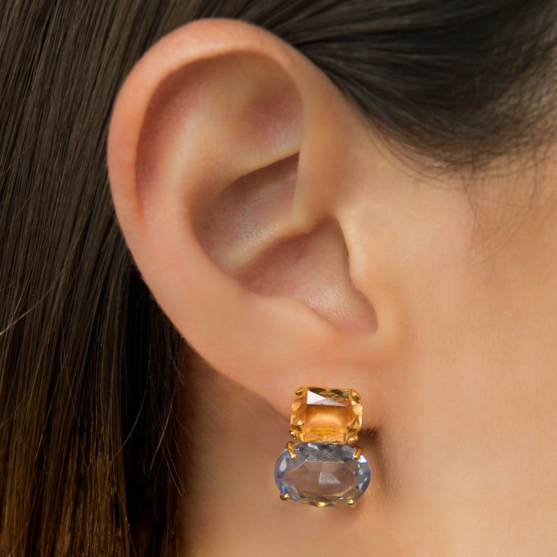 925 SILVER GOLD PLATED EARRINGS WITH BLUE AND YELLOW CRYSTALS