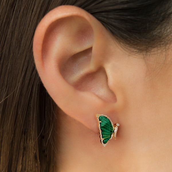 14K GOLD BUTTERFLY EARRINGS WITH MALACHITE AND DIAMONDS