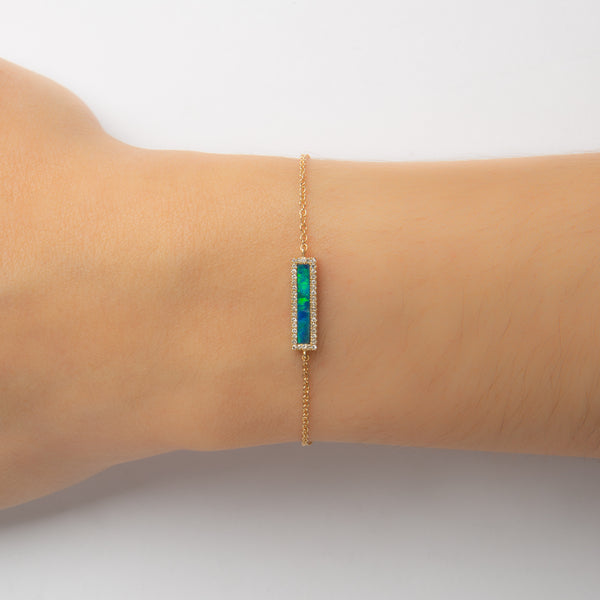 14K GOLD BAR BRACELET WITH OPAL AND DIAMONDS HALO