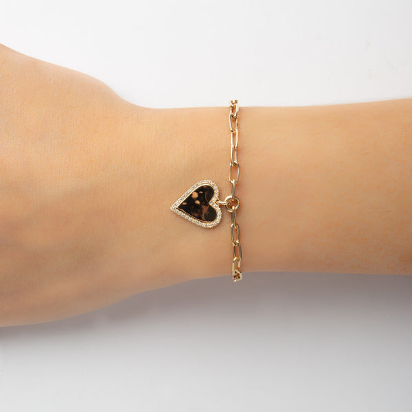 14K GOLD BRACELET WITH HEART WITH DIAMONDS