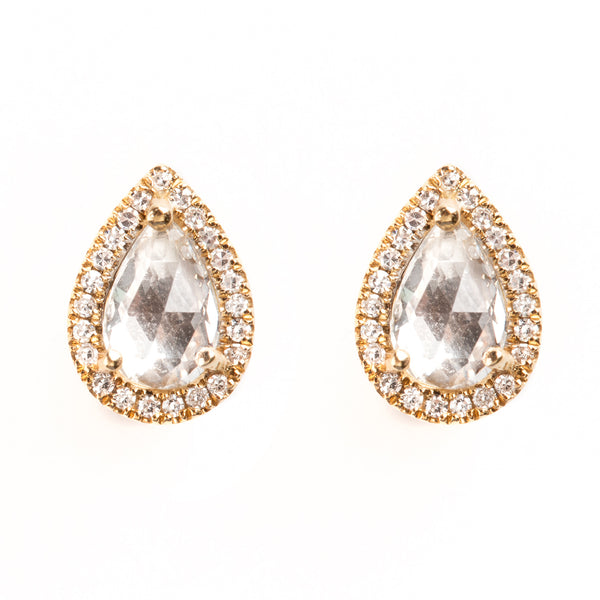 14K GOLD EARRINGS WITH DIAMONDS AND TOPAZ