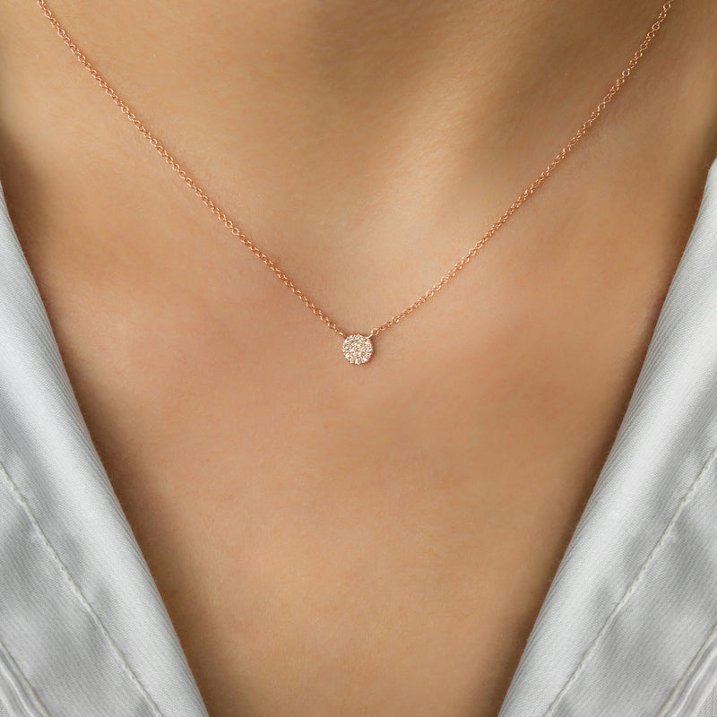14K ROSEGOLD ROUND NECKLACE WITH DIAMONDS