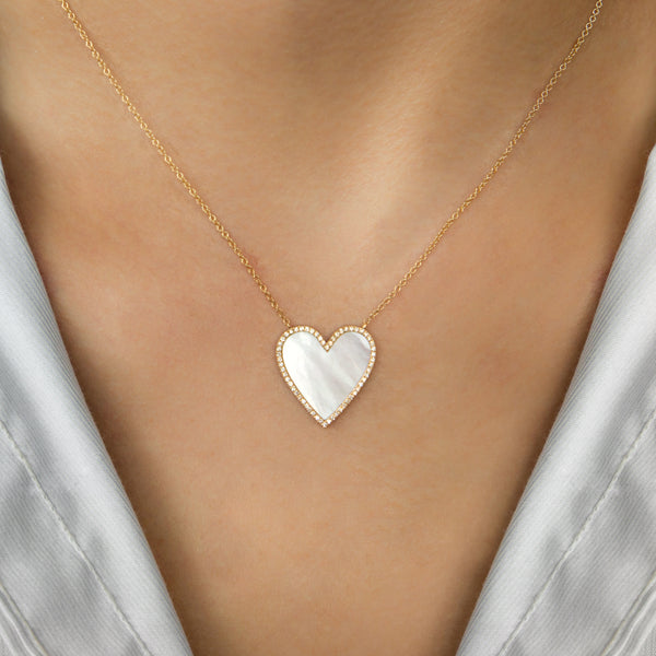 14K GOLD HEART NECKLACE WITH MOTHER OF PEARL AND DIAMONDS
