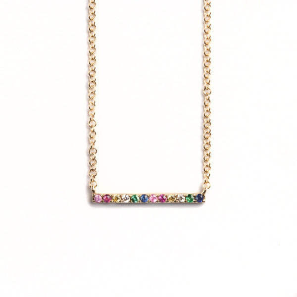 14K GOLD NECKLACE WITH MULTICOLOR STONES AND DIAMONDS