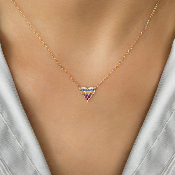 14K GOLD HEART NECKLACE WITH MULTICOLOR STONES AND DIAMONDS