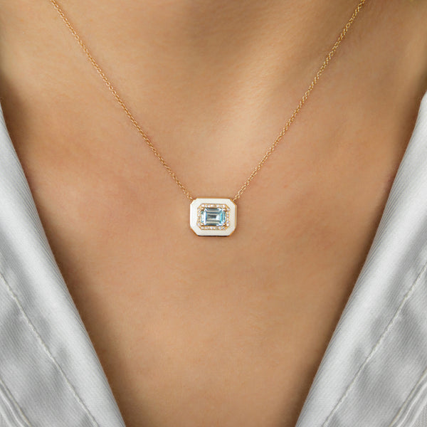 14K GOLD NECKLACE WITH BLUE TOPAZ WHITE ENAMEL AND DIAMONDS