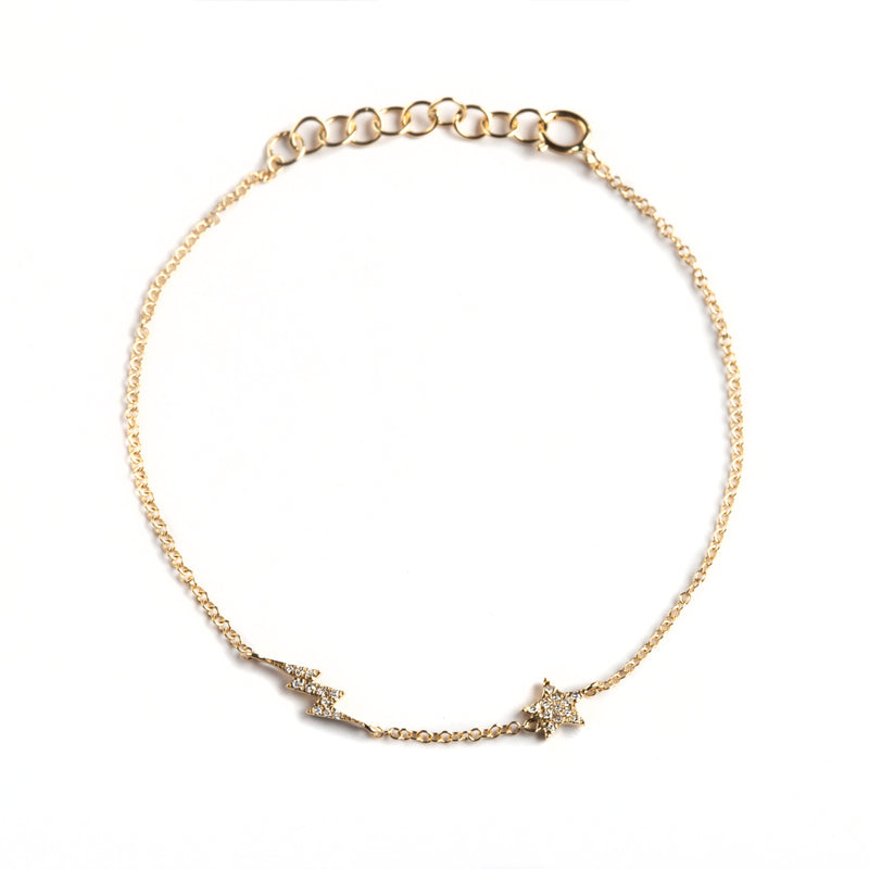 14K GOLD BRACELET WITH DIAMONDS BOLT AND STAR