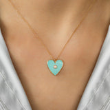 14K GOLD HEART NECKLACE WITH TURQUOISE AND DIAMOND