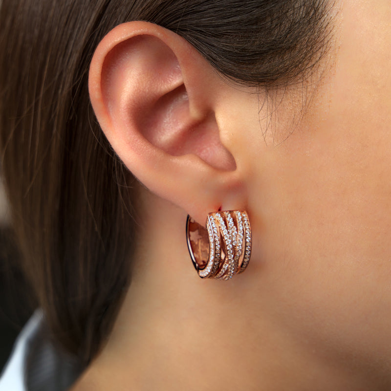 925 SILVER ROSE GOLD PLATED HOOPS WITH CRYSTALS