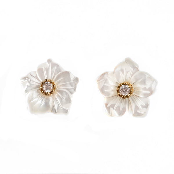 925 SILVER GOLD PLATED EARRINGS WITH MOTHER OF PEARL FLOWERS AND CRYSTALS
