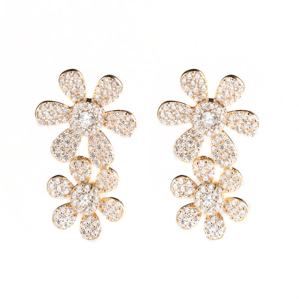 925 SILVER GOLD PLATED FLOWER CLIMBERS WITH CRYSTALS