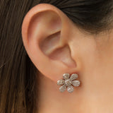 925 SILVER FLOWER EARRINGS WITH CRYSTALS