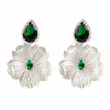 925 SILVER LONG EARRINGS WITH MOTHER OF PEARL FLOWERS AND GREEN AND WHITE CRYSTALS