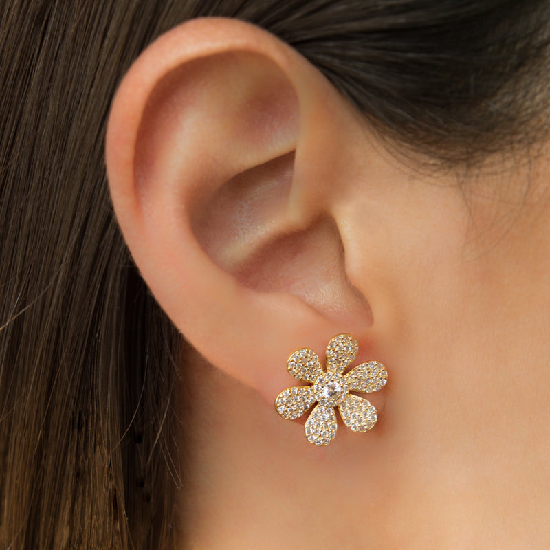 925 SILVER GOLD PLATED FLOWER EARRINGS WITH CRYSTALS