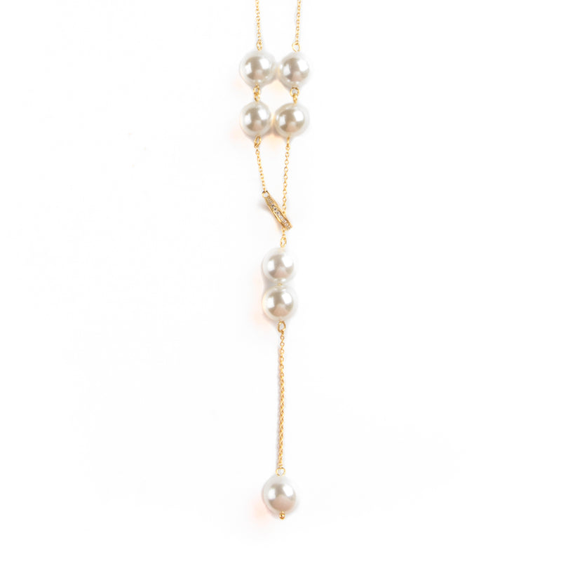 925 SILVER GOLD PLATED NECKLACE WITH PEARLS AND CRYSTALS