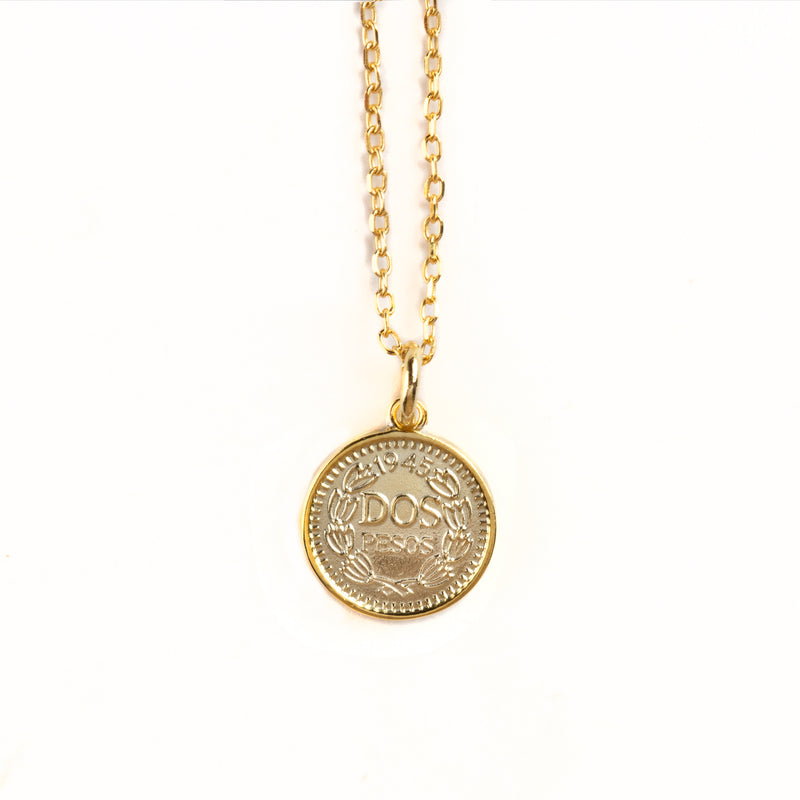 925 SILVER GOLD PLATED CHAIN WITH MEDALL